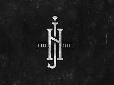 NJ jewelry diamond store vintage initials retro black white logo tradition