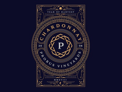 Probus Vineyards vineyards winery silver gold chardonnay wine expensive luxury monogram branding vintage dusan klepic new garden society