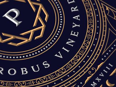 Probus Vineyards vineyards winery silver gold chardonnay wine expensive luxury monogram branding vintage dusan klepic new garden society