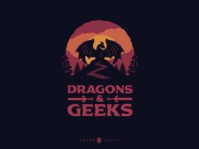 Dragons & Geeks dusan klepic vector design branding table rpg dnd epic fantasy games board logo geek dragon