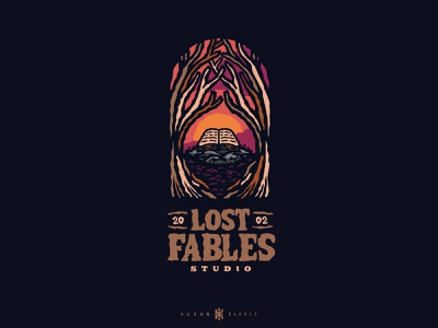 Lost Fables Studio dusan klepic mystical forest woods sunset logo fable story book tabletop rpg studio games gaming fantasy