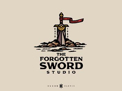 The Forgotten Sword Studio dusan klepic logo nerd geek fantasy branding lost studio developing games gaming sword