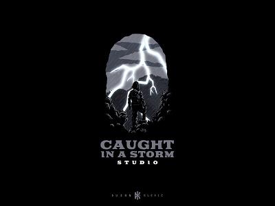 Caught In A Storm Studio dusan klepic logo branding geek nerd development games gaming studio lightning thunder rain storm