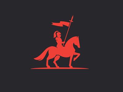 Creative Soldier knight helmet warrior fighter courage brave metal medieval logo vintage horse