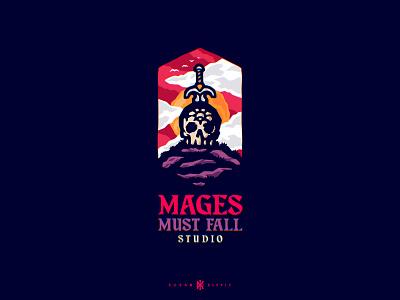 Mages Must Fall Studio branding logo gaming gamer games rpg fantasy dagger skull magic spell fall mage