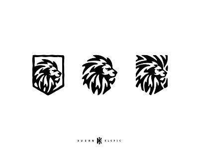 Lion head + Shield dusan klepic branding logo fierce king animal protection shield head lion
