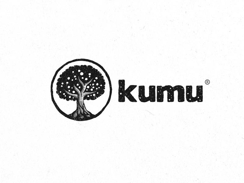 Kumu nature white black logo linocut vintage tree apple kumu