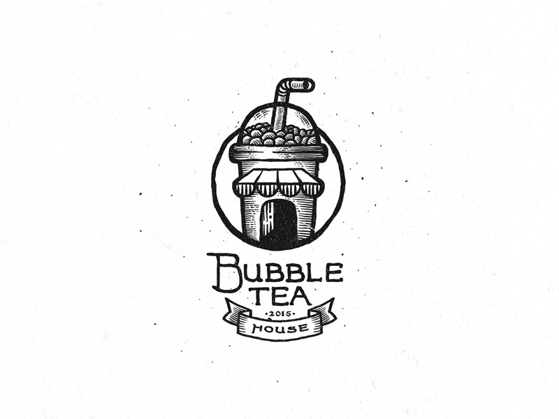 Bubble Tea House dusan klepic white straw black logo vintage drink beverage house tea bubble