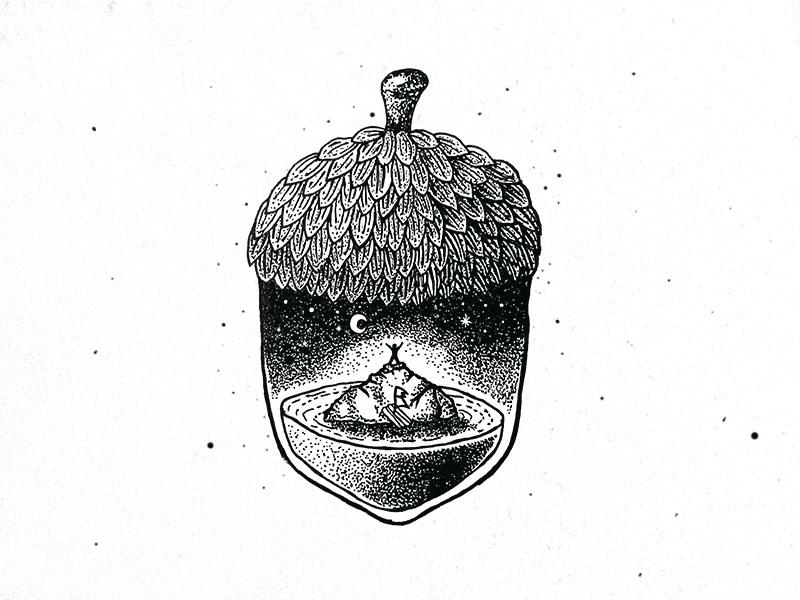Lost dusan klepic sketch vintage illustration island lost night nut oak