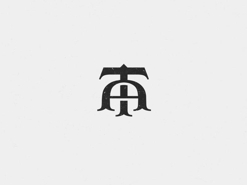 AT monogram tradition vintage black luxury logo initials letter at monogram