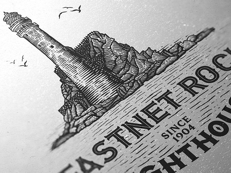 Fastnet Rock Lighthouse dusan klepic illustration white black linocut vintage fastnet ireland rock sea lighthouse