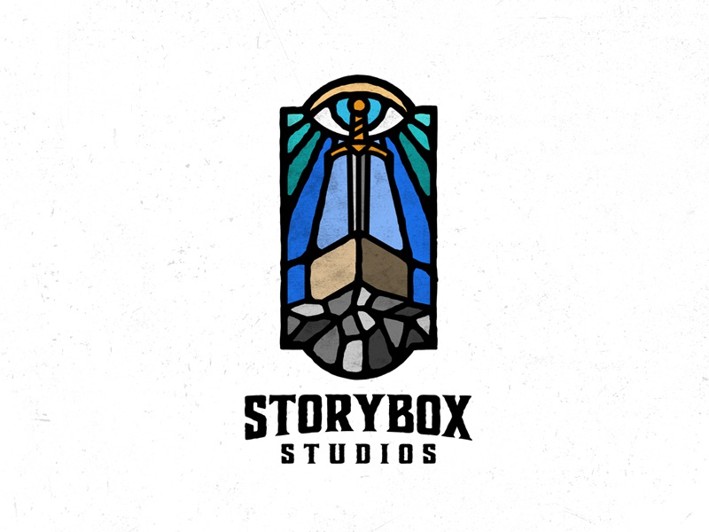 Storybox Studios logo dusan klepic 4k video vintage stained glass eye sword vitrage studio box story