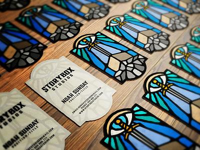 Storybox Studios business cards ver. 1 branding logo dusan klepic video vintage stained glass eye sword vitrage studio box story
