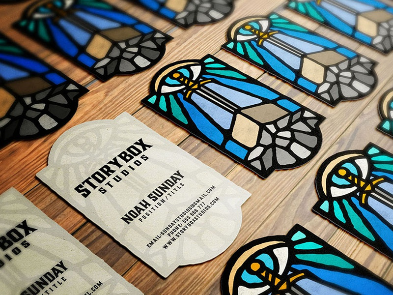 Storybox Studios business cards ver. 1 branding logo dusan klepic video vintage stained glass eye sword vitrage studio box story