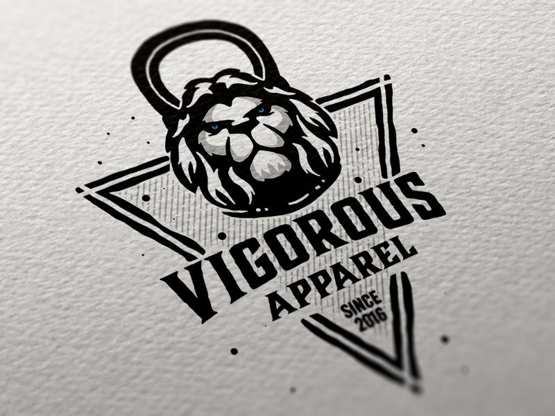 Vigorous Apparel branding dusan klepic hand drawn vintage kettlebell apparel vigorous lion head sport crossfit