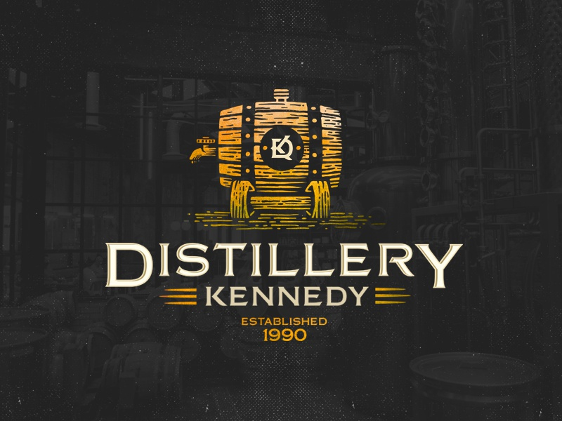 Distillery Kennedy luxury monogram dusan klepic vintage label alcohol beverage distillery wooden barrel