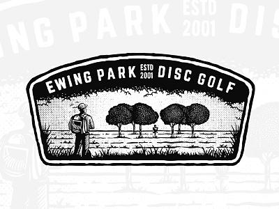 Ewing Park Disc Golf illustration patch vintage dusan klepic player scout forest wildlife activity sport disc golf ewing park