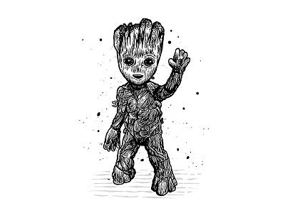 I Am Groot dusan klepic illustration galaxy superhero marvel studios marvel guardians of the galaxy i am groot groot