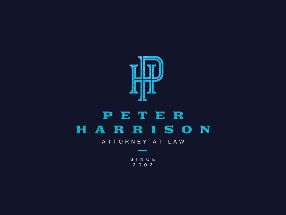 Peter Harrison Attorney At Law Monogram tradition history protection luxury logo branding washington usa hp monogram justice law firm attorney