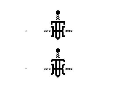 A or B ? modern monogram logo branding monogram iron utah usa blacksmith dagger knife wood timber