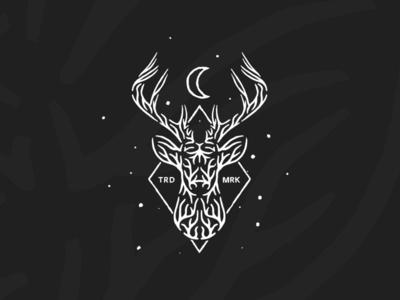 Eikthyrnir dusan klepic tradition history tree roots deer logo drawing vintage starfield stars moon wild animal horns deer
