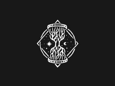 Hourglass ancient dusan klepic branding o logo tradition history old universe stars day night sun moon branches tree roots time sand hourglass