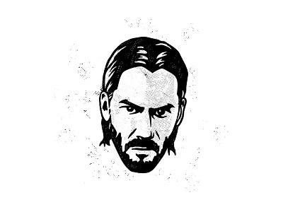 John Wick illustraion logo portrait assassin hollywood fan art actor keanu reeves john wick