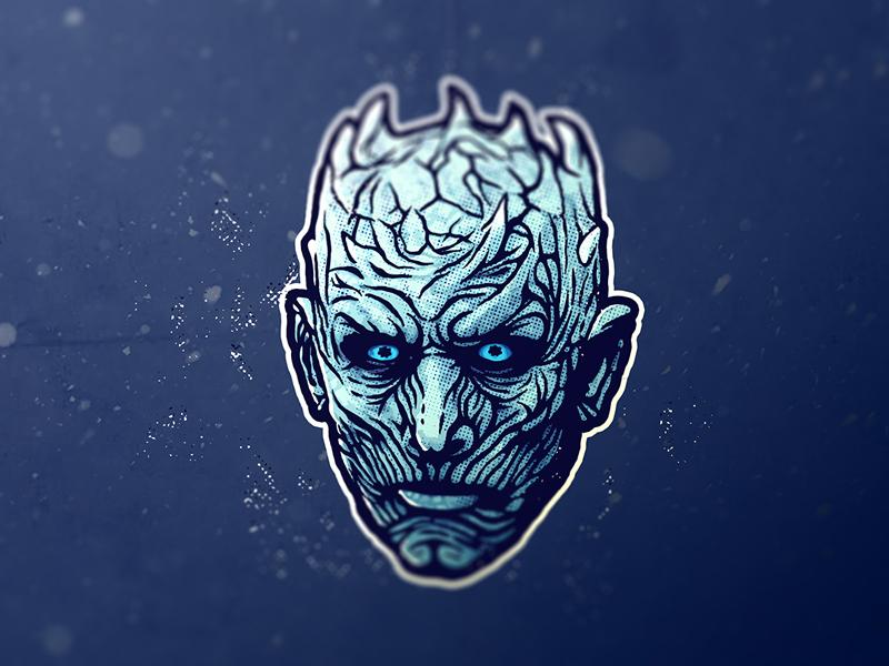 Night King fan art fantasy sticker illustraion stark snow westeros winterfell white walker winter is coming game of thrones night king