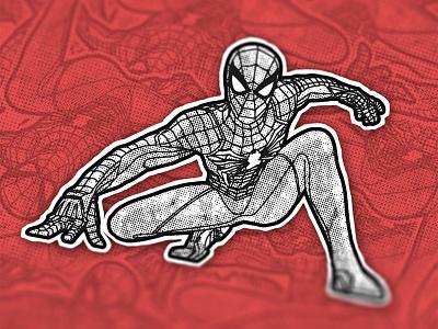 Spidey sticket design comic illustraion sticker marvel superhero spider web peter parker spiderman