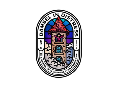 Damsel In Distress branding dusan klepic vintage woman sticker badge stained glass help fairytale clouds fortress tower damsel lady