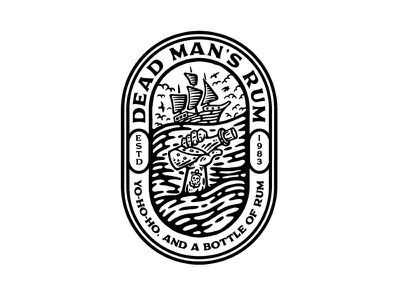 Dead Man's Rum dusan klepic vintage badge branding logo bottle hand drowning seagull sea tattoo alcohol brewing rum dead sailing sailboat pirate