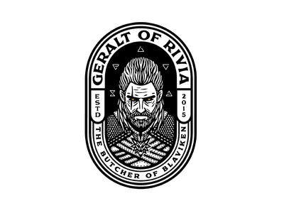 The Wticher vintage dusan klepic runes scary beard logo sticker badge white wolf wolf magic slayer monster hero character adventure gaming rpg geralt of rivia witcher
