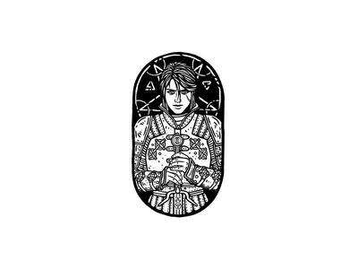 Ciri - The Witcher 3: Wild Hunt dusan klepic vintage illustration ciri woman armor sticker badge fanart magic warrior fighter rpg gaming witcher