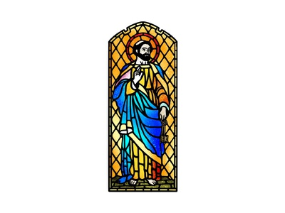 The Saint dusan klepic vintage illustration branding god robe church logo window holy spirit religious church stained glass saint