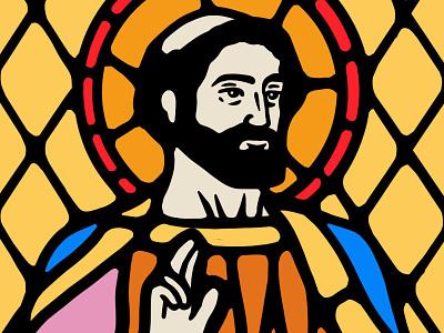 The Saint dusan klepic vintage illustration branding god robe church logo window holy spirit religious church stained glass saint