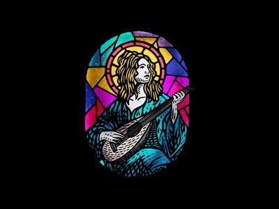 Bard dusan klepic logo illustration vintage holy colorful studio rpg church stained glass lute music musician bard