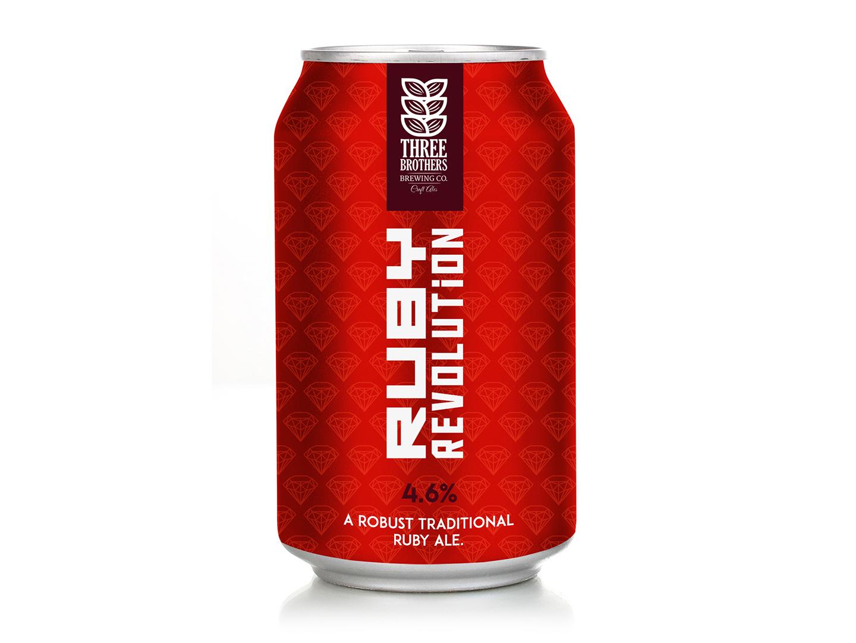 Ruby Revolution beer rebranding packaging graphic design branding rebranding