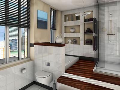 3D Bathroom interior render rendering 3d modeling