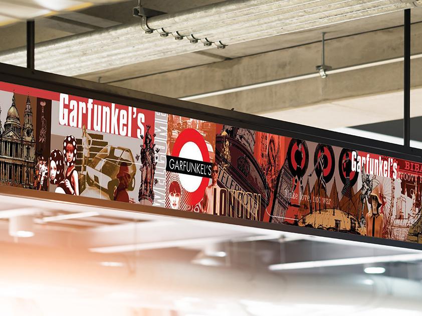 Garfunkel's restaurant  interior mural illustration graphic design mural wall art