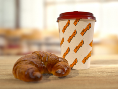 Coffee and croissant Redshift and Cinema 4d render
