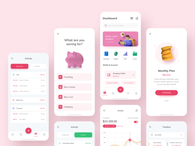 Money Management App okoslam wallet stats payments mobile money management invest dashboard daily ui clean card budgeting money bank ios android 3d
