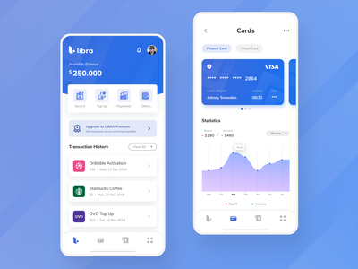 Banking App - Concept payment wallet mobile app fintech transactions statistics history credit card business card finance app finance bank card bank app banking bank card ui clean daily ui app