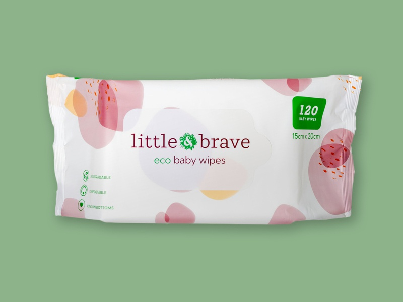 Eco Baby Wipes Packaging Design With Pattern