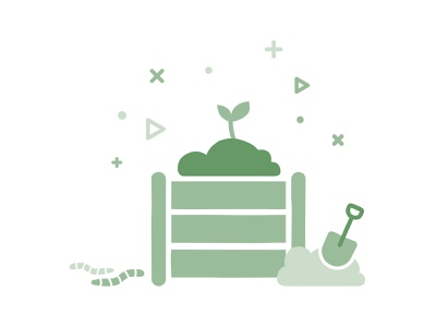 Eco-friendly Green Illustration Showing A Compost Heap vector circle of life shovel spade sustainability ecommerce branding infographic icon minimal flat worms compostable compost environmentally friendly green eco