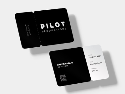 Black & White Ticket Shaped Business Card print design nz auckland professional brand identity branding clean minimal sleek events production company cool business card event ticket diecut die cut business logo black and white business card black and white business card design business cards