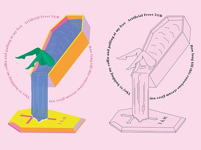 Artificial Fever Illustration water funeral creative concept coffin vector illustration design