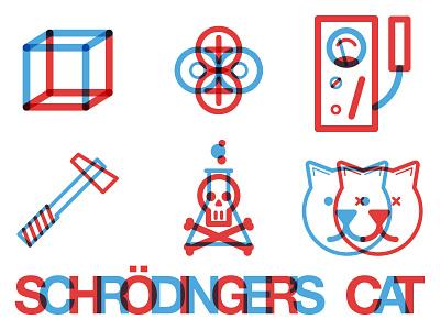 Schrodinger's Cat retro 3d cat poison hammer geiger counter alpha particle box science schrodingers cat
