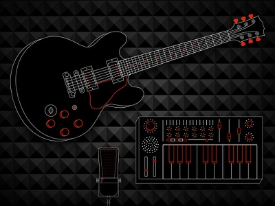 Instruments microphone vector illustration synthesizer guitar instruments