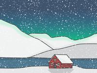 Snowy House Mountain Scene - Iceland