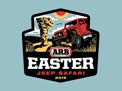 Jeep Safari 2019 outdoors vehicle car clouds rocks grass illustration sun desert jeep